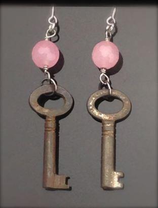 Antique Skeleton Key Earrings w/ pink stones - $25 (SW902)