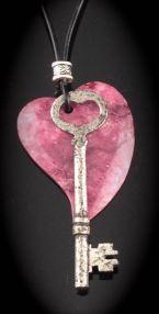Antique Skeleton Key Necklace - Heart bow key w/ poished stone heart $50