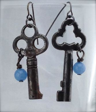 Antiques Skeleton Key Earrings - Victorian Keys w/ blue stone - $26 (SW901)