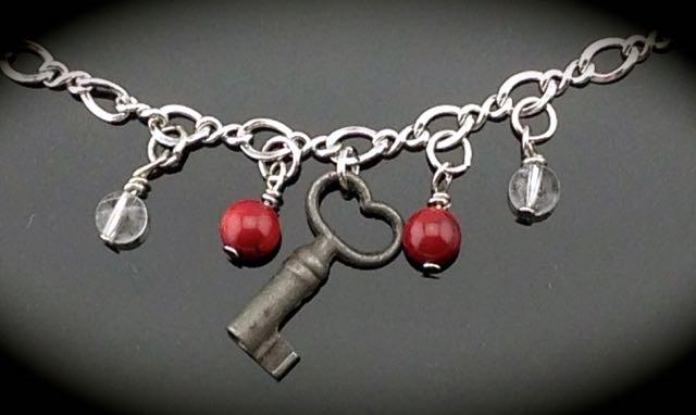 Heart Skeleton Key on Vintage Sterling Bracelet $50