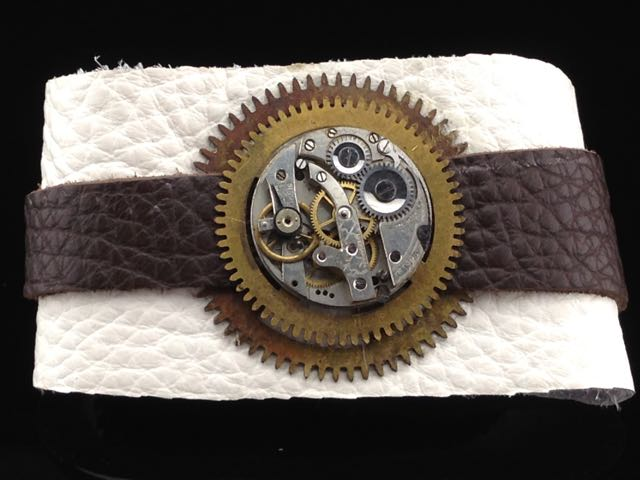 Steampunk Bracelet - Antique Pocket Watch Movement & Clock Gears on soft white and brown leather $55