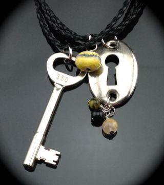 Vintage Skeleton Key Necklace w/ Matching Escutcheon $47