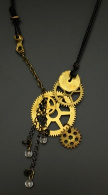 Steampunk Statement Necklace: Real Clock Gears with quartz beads - $64 (SW820)