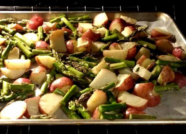 garlic roasted asparagus red potatoes