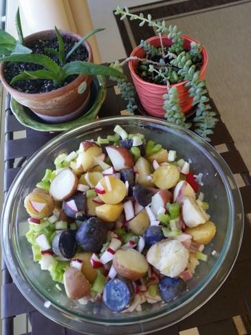 Vegan potato salad before adding vinaigrette