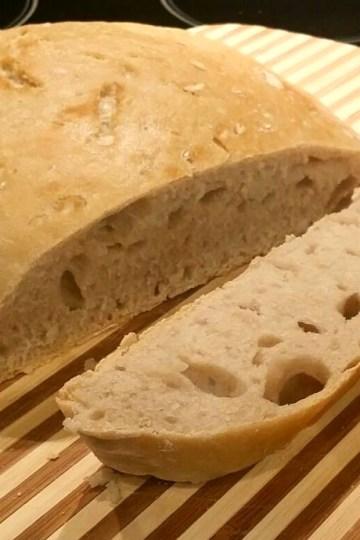 White flour no knead bread baked