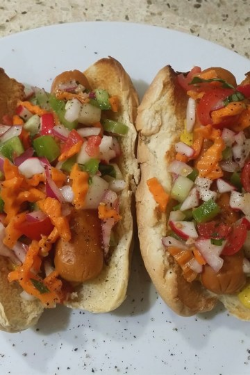 Florida vegan hot dog relish on hot dogs