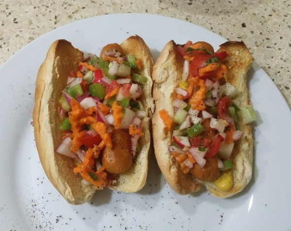 Florida vegan hot dog relish on hot dogs