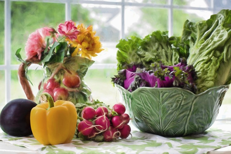 Vegan ingredients and flowers
