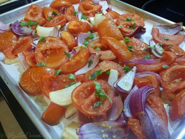 Roasted vegetables for fresh tomato vegan soup
