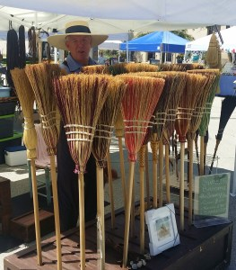 Amish brooms at New Smyrna Beach Farmers Market in Florida