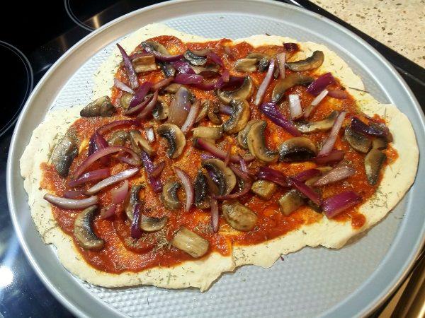 Vegan Onion Mushroom Pizza
