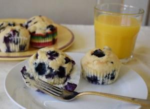 vegan fresh blueberry muffins