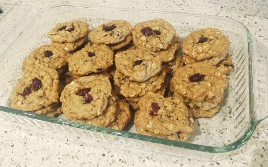 vegan chewy cranberry oatmeal cookies