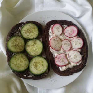 german cucumber radish sandwich