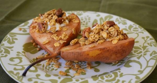 maple cinnamon baked pears
