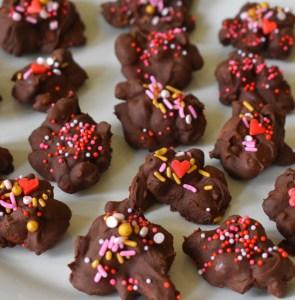 chocolate almond walnut clusters