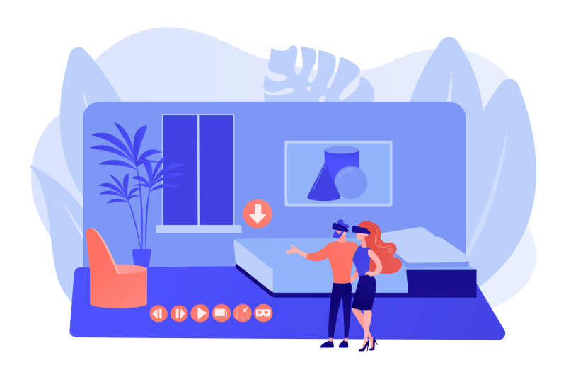 An infographic of a couple using virtual reality headsets to view a home in an app-like setting
