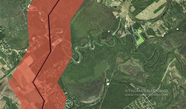 Picketts Bayou, TX.  Proposed Keystone XL route. Voluntary Evacuation Zone.