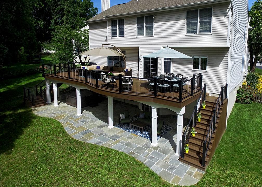 Custom Trex Deck - Downingtown PA   879 Sq Ft   Keystone ... on Back Patio Porch Ideas id=58524