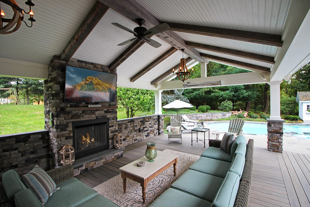 Covered Back Porch Ideas & Designs | Chester & Lancaster ... on Covered Back Deck Designs id=42698