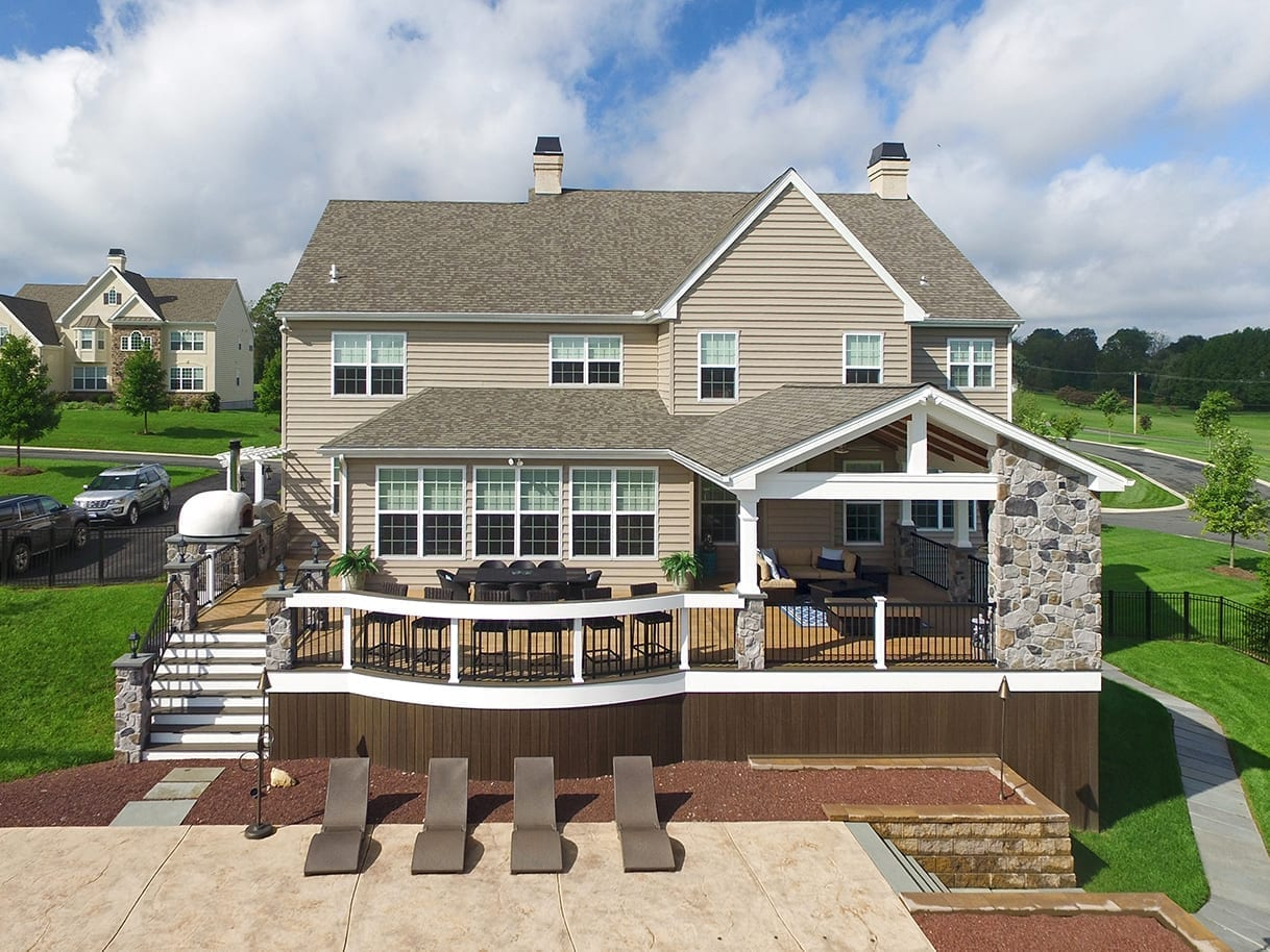 Covered Back Porch Ideas & Designs | Chester & Lancaster ... on Covered Back Deck Designs id=97189