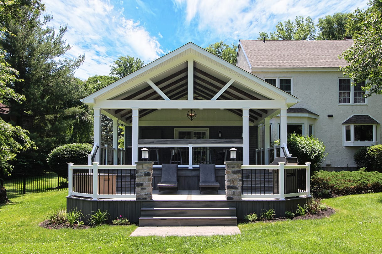 Covered Back Porch Ideas & Designs | Chester & Lancaster ... on Covered Back Deck Designs id=18320