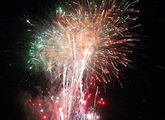 Fireworks in the night sky - Florida Keys