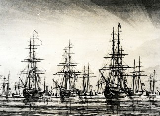 A large ship in a body of water - Ship of the line