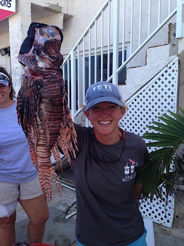 Rachel Bowman of Marathon shows off this invasive lionfish.