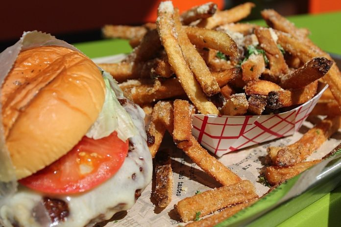 The Brisket Burger with parmesan cheese and herb topped fries.