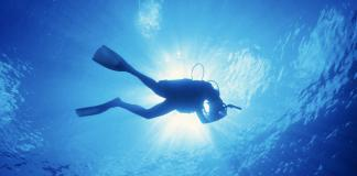 #News: Volunteer Divers Become Year-Round Asset - A man flying through the air while swimming in a body of water - Scuba diving