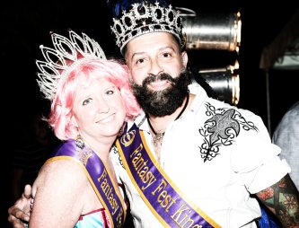 Newly crowned Fantasy Fest King Shane Hall and Queen Mary Lynne Price make an entrance and introduce this year's animal-themed Headdress Ball.