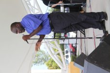 Pastor Larry White addresses the crowd. The event ran for seven days with nightly meetings from 6 to 9 p.m.