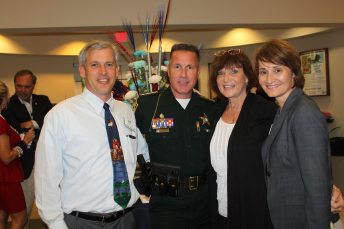 First State Bank Senior Vice President Jeff Smith, pictured with Monroe County Sheriff Rick Ramsay, BPW member Sandra Bradshaw and judicial candidate Bonnie Helms.