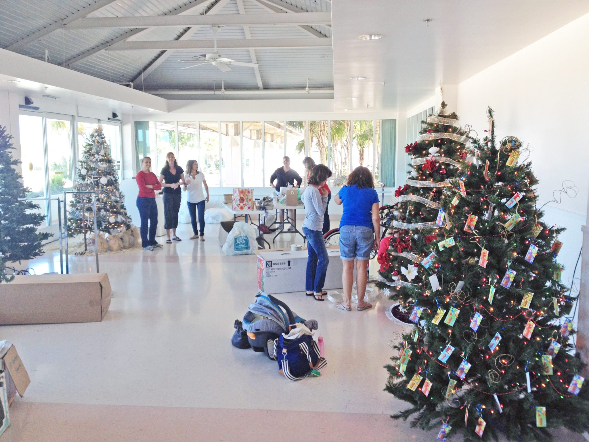 Dozens of ladies converge on the Marathon Airport last Sunday to ready their trees.