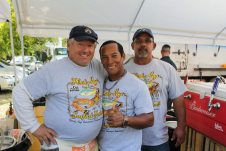 Beer aficionados Bradly, Carlos and Tom were three of the most popular volunteers at the festival, serving up cold brews and plenty of laughs.