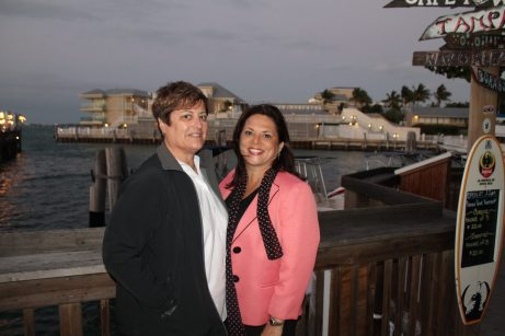 Lisa Kaminski, general manager of Holiday Inn Express in Marathon with her partner and past president of the Monroe County Bar Association, Maggie Gutierrez, are bundled against the cold. Lisa was awarded the prestigious Upper Keys General Manager of the Year award.