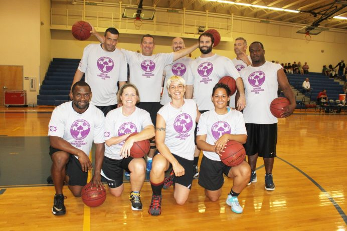 The team consisted of Ryan Freund, standing left, Kevin Freeeman, Logan Howe, 'Moose' Vandervoort, Andrey Garvey, Paul Davis, kneeling left, M.P. Coleman, Daashia Cochran and Jaymie Lugo.