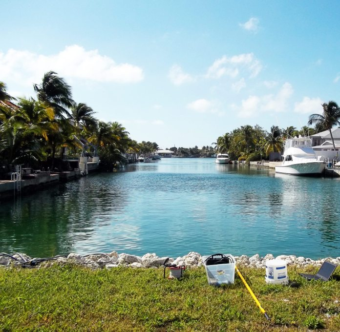 Clean water – County embarks on canal restoration - A boat sitting next to a body of water - Florida Keys
