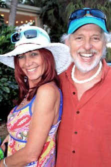 """Emcee Howard Livingston with wife Cyndi break for a photo op while in between """"On Key West Time"""" sets."""