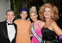 . Outgoing Queen Mother XXXI Elle Taylor, crowned, poses with boyfriend Brian Glassberg, Queen Mother 9 Dee Dee Sharp, and Dee Dee's Michael Berzellini. 'Dee Dee was the first married Queen Mother; all the others had been single ladies up until she was crowned,' Berzellini said.