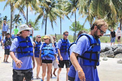 Members of the Rock 'n' Row team — mostly Boot Key Harbor liveaboards — head to the 'deck' to assemble and race again.