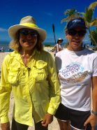 Swim Around Key West Kayak Coordinator Katie Leigh of Key West chats with friend Brenda Anderson who paddles the event. Both were support kayakers for Diana Nyad's historic swim from Cuba to Key West.