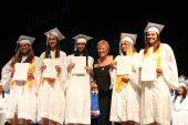 Carol Reed awarded five graduating girls with a scholarship provided by the Marathon Elks Lodge. The recipients are Samantha Bonilla, left, Zamaira Ricart, Jinett Rodriguez, Brandi Spalten and Savannah Rodamer.