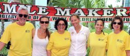 Rotarians Marty Hirsh, left, Jessica Cranney, President Rachel Oropeza, Jill Cranney-Gage, Cathy Crane, and Sharon Hirsh help spread the word about their Smile Makers program. Rotary turns 100 this year.