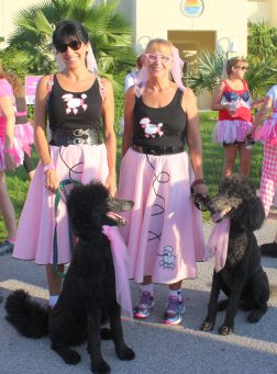 Wearing poodle skirts, and accompanied by two standard poodles, Joanna Sykut and Cassie Stephan took home one of the prizes for best dressed.