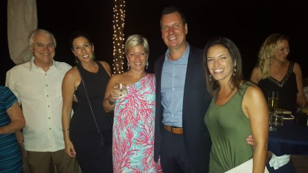 """From R-L: Bob Eadie, Jeanna Spelios, Michelle Maxwell, Juan Lleara and Lisette Zuelch bring the swag to the """"swaggest"""" party in 2015."""