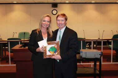State Representative Holly Raschein presents a Florida Keys token of appreciation to Commissioner of Agriculture Adam Putnam at Florida Keys Day.