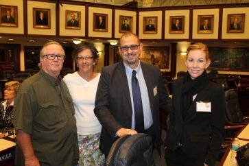Jim and Anne Dunn (retired firefighter and school teacher) join Key Largo Wastewater Treatment District's General Manager Paul Christian and Diane Bockelman on the House Floor during Florida Keys Day.